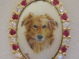 Enamel dog head brooch