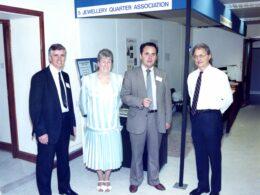 Jewellery Quarter Association – Launch: 1990 L/R Doug Timmis (Treasurer), Marie Haddleton (Hon President/Hon Secretary), Sir Albert Bore (Leader, Birmingham City Council), Elliott Pres (first JQA Chairman)