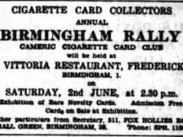 Cigarette Card Rally advert. May 20 1962, The Birmingham Post