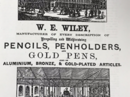 Trade directory advert for W E Wiley's pencils and pens from 1864