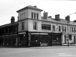 Photograph taken around 1970: No 40 is the corner, the building with the rounded doorway is 43 (then probably occupied by the Prima Casting co, manf. Jewellers.). Courtesy of BirminghamHistory.co.uk