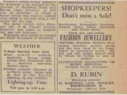 Advert for D Rubin in Coventry Telepgraph, 1956