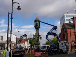 Work begins on Chamberlain Clock. Photo © Pat Rodwell